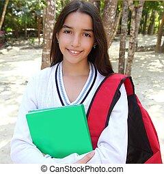 hispanic latin teenager girl backpack in Mexico park -...