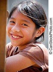 hispanic, leende flicka
