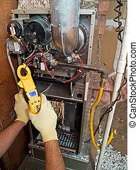 hispanic, luftkonditionering, bemanna, reparation, utföre, underhåll
