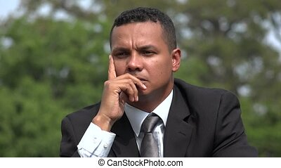 Hispanic Male Business Man Having Idea