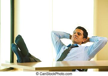 Hispanic Male Hands Behind Head Reclining - A successful...