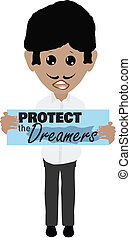hispanic male protester DACA with Protect the Dreamers sign
