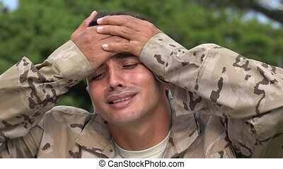 Hispanic Male Soldier Soreness