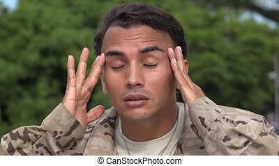 Hispanic Male Soldier With Headache