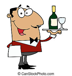 Friendly Hispanic Male Butler Serving Wine
