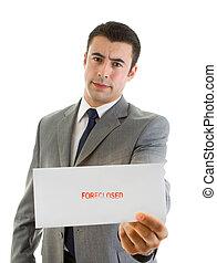 "Hispanic Man Holding an Envelope Marked ""Forclosed"""
