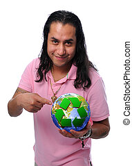 Hispanic Man Holding the Earth