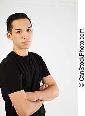 Hispanic man in black shirt