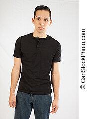Hispanic man in black shirt
