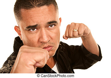 Hispanic Man Throwing Punch