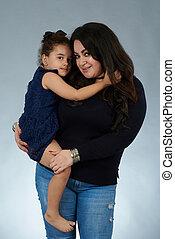 Hispanic mom with daughter
