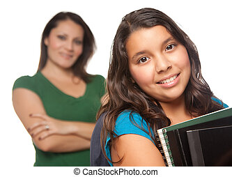Hispanic Mother and Daughter Ready for School Isolated on a...
