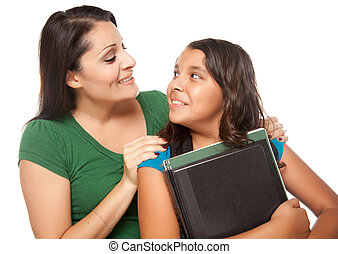 Hispanic Mother and Daughter Ready for School