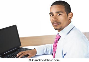 Hispanic office man looking up
