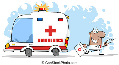 Hispanic Or Black Doctor Walking Away From An Ambulance Carrying A Syringe
