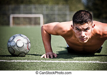 hispanic, piłka nożna, albo, futbolowy gracz