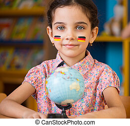 hispanic, sprytny, dziewczyna, uczyć się, geografia