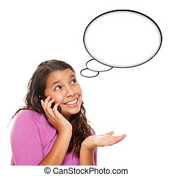 Hispanic Teen Aged Girl on Cell Phone with Blank Thought...
