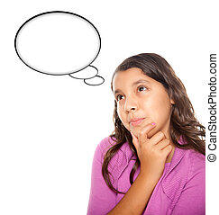 Hispanic Teen Aged Girl with Blank Thought Bubble Isolated...