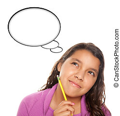 Hispanic Teen Aged Girl with Pencil and Blank Thought Bubble...