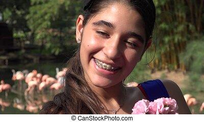 Hispanic Teen Girl Smiling