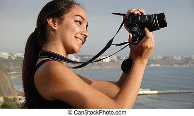 Hispanic Teenage Girl Photographer