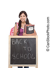Hispanic teenager College student by blackboard