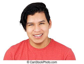 Hispanic teenager male isolated on white