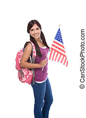 Friendly ethnic Latina woman high school student standing holding American flag