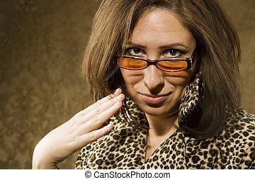hispanic vrouw, met, houding