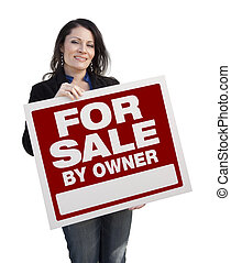 Hispanic Woman Holding For Sale By Owner Sign On White
