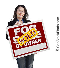 Hispanic Woman Holding Sold For Sale By Owner Sign