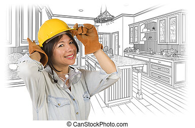 Hispanic Woman in Hard Hat with Kitchen Drawing Behind