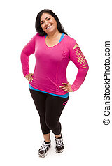 Hispanic Woman In Workout Clothes on White