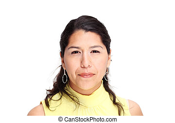 Hispanic woman on white background