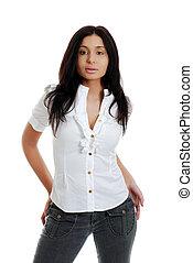 Hispanic woman wearing black jeans