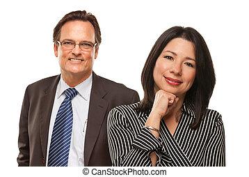 Hispanic Woman with Businessman on White