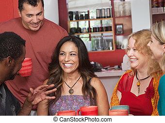 Hispanic Woman with Friends - Pretty Hispanic woman and...