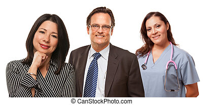 Hispanic Woman with Husband and Female Doctor or Nurse