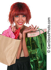 Hispanic Woman with Shopping Bags