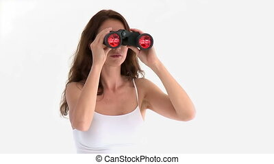 Hispanic woman with spyglasses