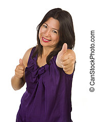 Hispanic Woman with Thumbs Up on White
