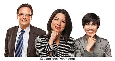 Hispanic Women and Businessman on White