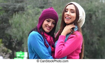 Hispanic Women  Friends Cold Weather