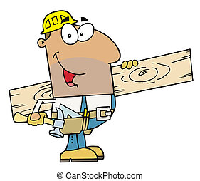 Friendly Hispanic Construction Worker Carrying A Wood Board