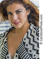 hispanic, wzór, brunetka