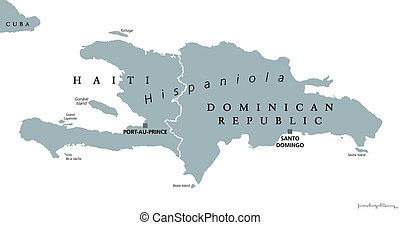 Hispaniola political map with Haiti and Dominican Republic