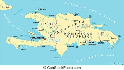 Hispaniola Political Map with Haiti and Dominican Republic, located in the Caribbean island group, the Greater Antilles. With capitals, national borders, important cities, rivers and lakes. English labeling and scaling. Illustration.
