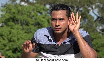 hispanique, adulte, écoute, homme