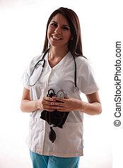 hispanique, années vingt, ouvrier, joli, healthcare